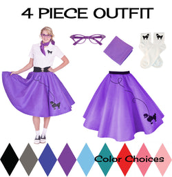 Adult 4 pc - 50's Poodle Skirt Outfit