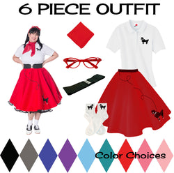 Plus Size 6 pc - 50's Poodle Skirt Outfit