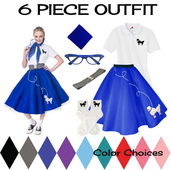 Adult 6 pc - 50's Poodle Skirt Outfit