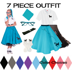 Adult 7 pc - 50's Poodle Skirt Outfit