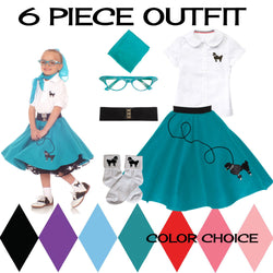 Child 6 pc - 50's Poodle Skirt Outfit