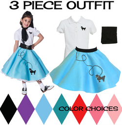 Child 3 pc - 50's Poodle Skirt Outfit