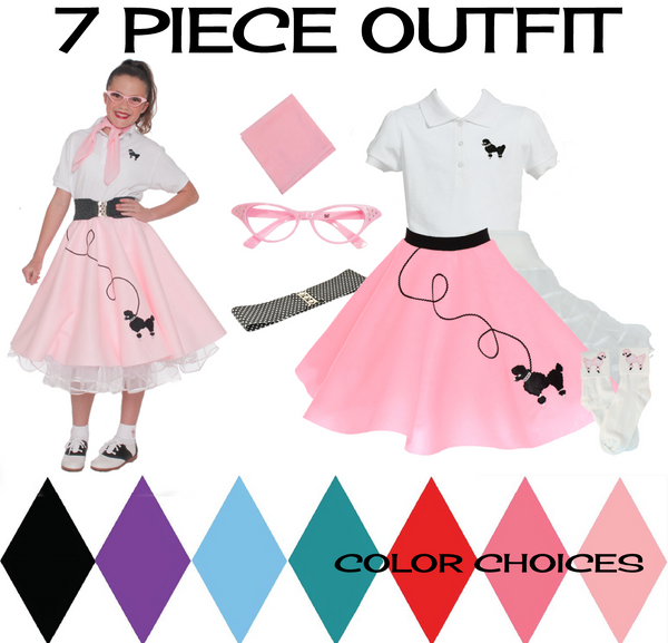 Child 7 pc - 50's Poodle Skirt Outfit