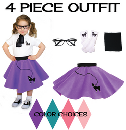 Toddler 4 pc - 50's Poodle Skirt Outfit