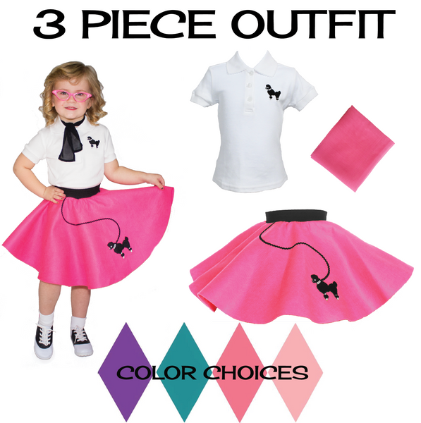 Toddler 3 pc - 50's Poodle Skirt Outfit