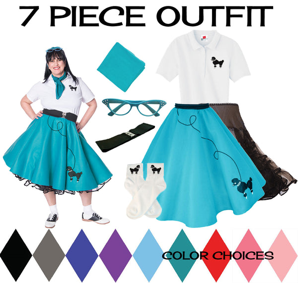 Plus Size 7 pc - 50's Poodle Skirt Outfit
