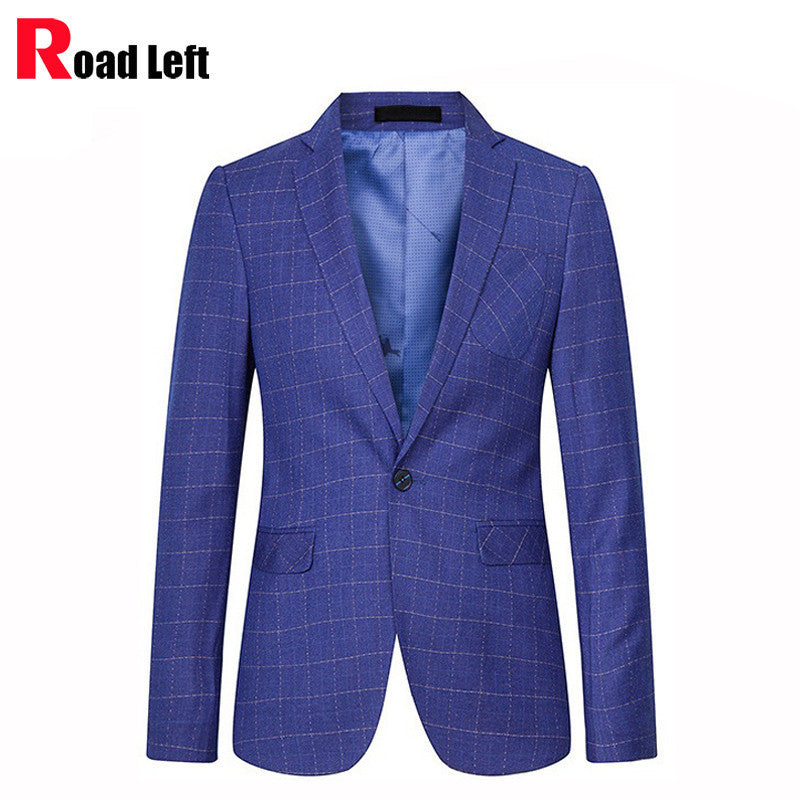 high quality casual suit mens plaid blazer royal blue tuxedo men slim fit costume homme one. Black Bedroom Furniture Sets. Home Design Ideas
