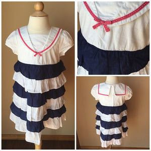 Pre-Loved Girls Gymboree Nautical Tiered Ruffle Dress, size 5T