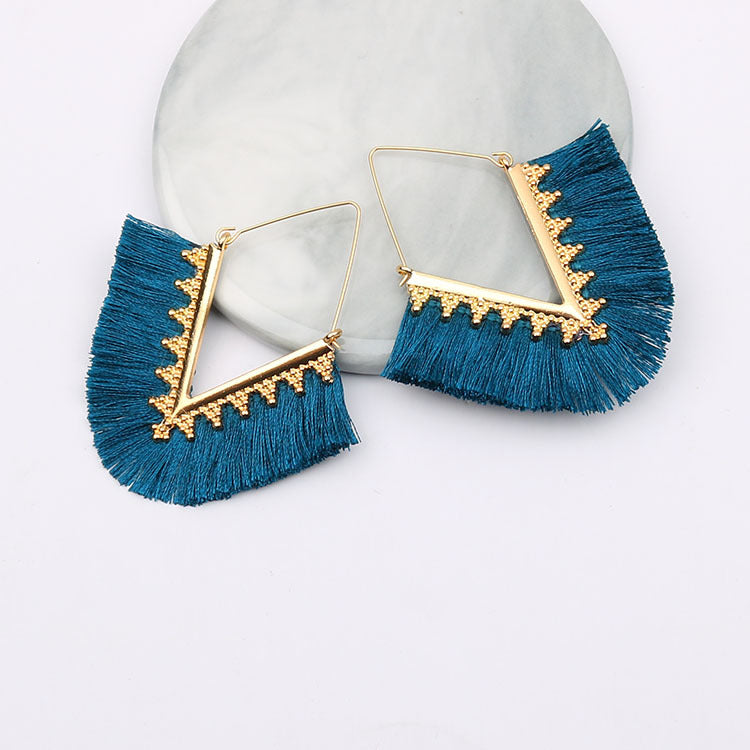 Boho Intricate Gold Fringe Earrings