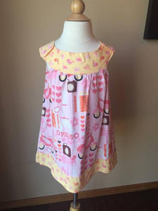 Pre-Loved Girls Custom Tunic Top Dress Parisian Print, size 7/8