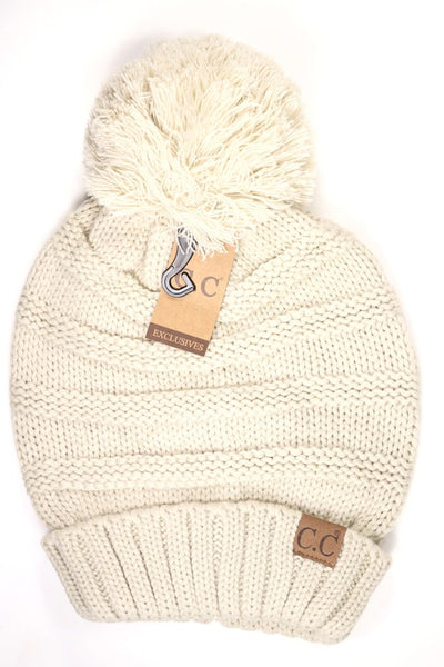 C.C. Super Slouch Pom Beanie Adult/One Size