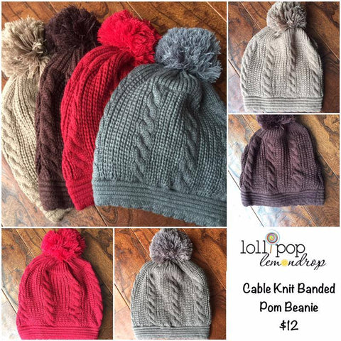 Cable Knit Banded Pom Beanies (Adult/One Size) *CLEARANCE*