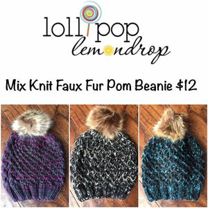 Multitone Faux Fur Beanies (Adult/One Size) *CLEARANCE*