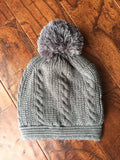Cable Knit Banded Pom Beanies *CLEARANCE*