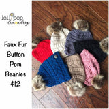 Cable Knit Button Accent Faux Fur Pom Beanies *CLEARANCE*