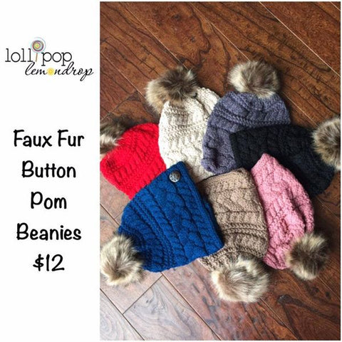 Cable Knit Button Accent Faux Fur Pom Beanies (Adult/One Size) *CLEARANCE*