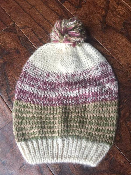 Multitone Striped Slouch Pom Beanies (Adult/One Size) *CLEARANCE*