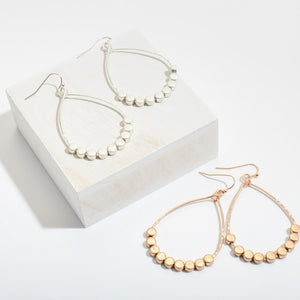 Metal Teardrop Earrings With Dot Beaded Accents