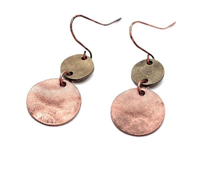 Antiqued Copper & Metal Disc Earrings