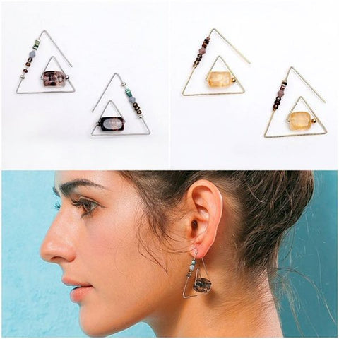 Silver & Gold Geometric Triangular Hook & Stone Earrings