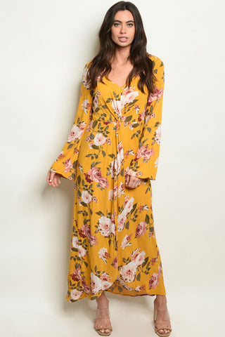 New Women's Boutique Mustard Floral Maxi Dress/Shorts Romper S, M, L
