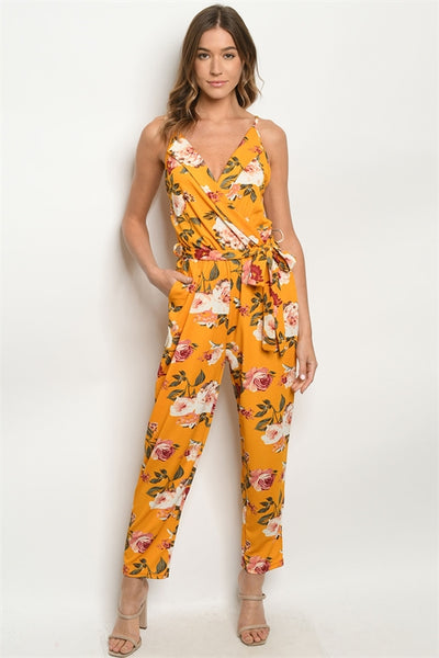New Women's Boutique Mustard Floral Jumpsuit Romper S, M, L