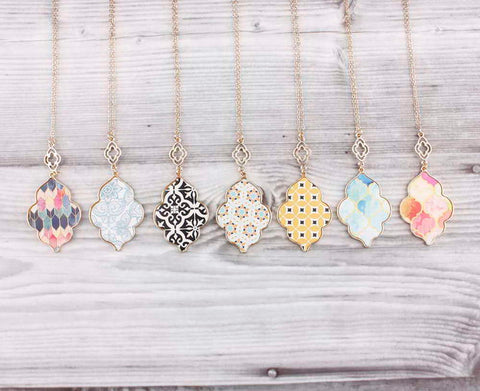 Gold Moroccan Colorful Pendant Necklaces 4 Designs!
