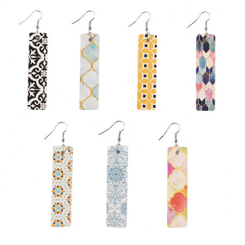 Faux Leather Colorful Print Moroccan Rectangular Earrings 5 Designs!