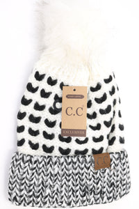 CC Fuzzy Lined Heart Stitched Faux Fur Pom Beanie (Adult/One Size)