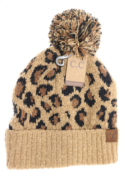 C.C. Leopard Boucle Knit Pom Beanie (Adult/One Size)