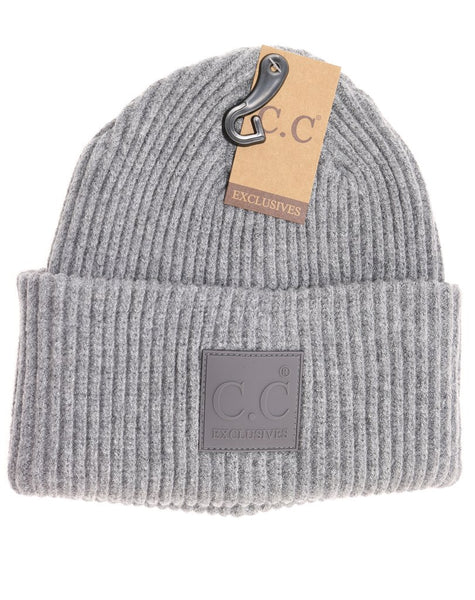 CC Unisex Solid Ribbed Large Cuff Beanie with Trendy Patch (Adult/One Size)