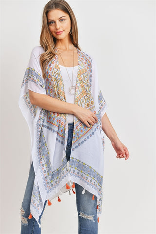 New Women's Boutique BOHO Printed Open Front Tassel Kimono