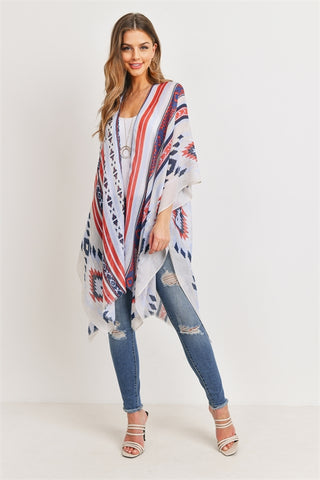 New Women's Boutique Ethnic Printed Open Front Kimono