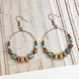 Mixed Bead Hoop Earrings