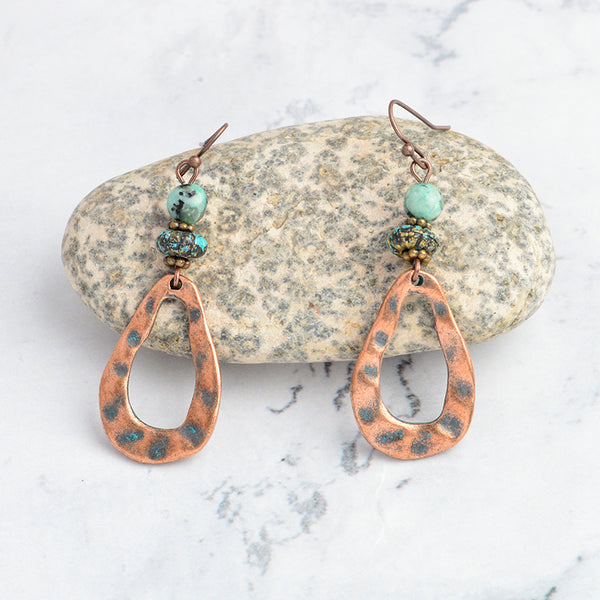 Copper and Beaded Teardrop Hammered Earrings