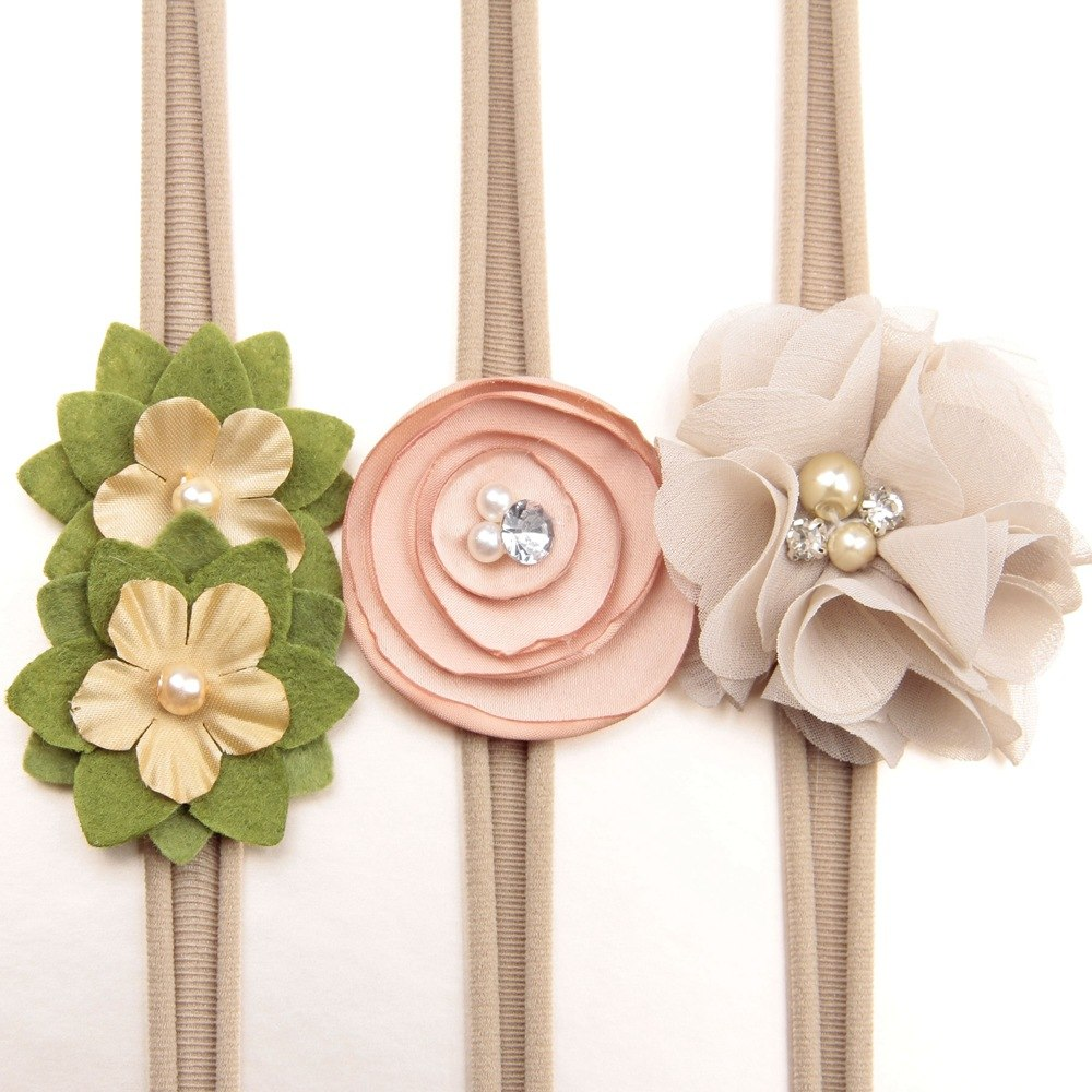 Fabric Flower Headband Set Of 3