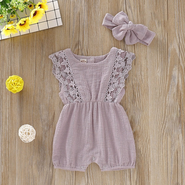 Baby & Toddler New Boutique Muslin Cotton Lace Romper Headband Sets Newborn-24M