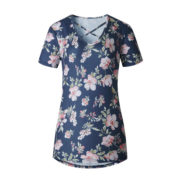 SALE New Women's Boutique Romantic Floral Criss Cross Top in Navy Size M & L