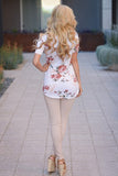 SALE New Women's Boutique Romantic Floral Criss Cross Top in White, size L/XL