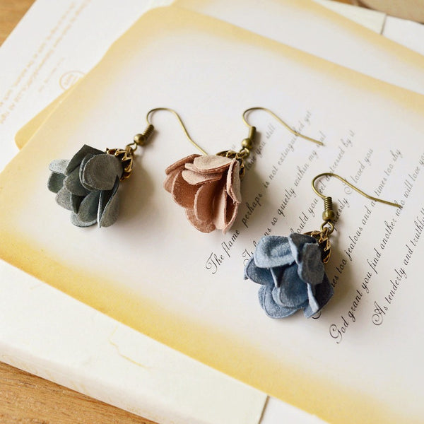 Vintage Inspired Faux Leather Flower Earrings