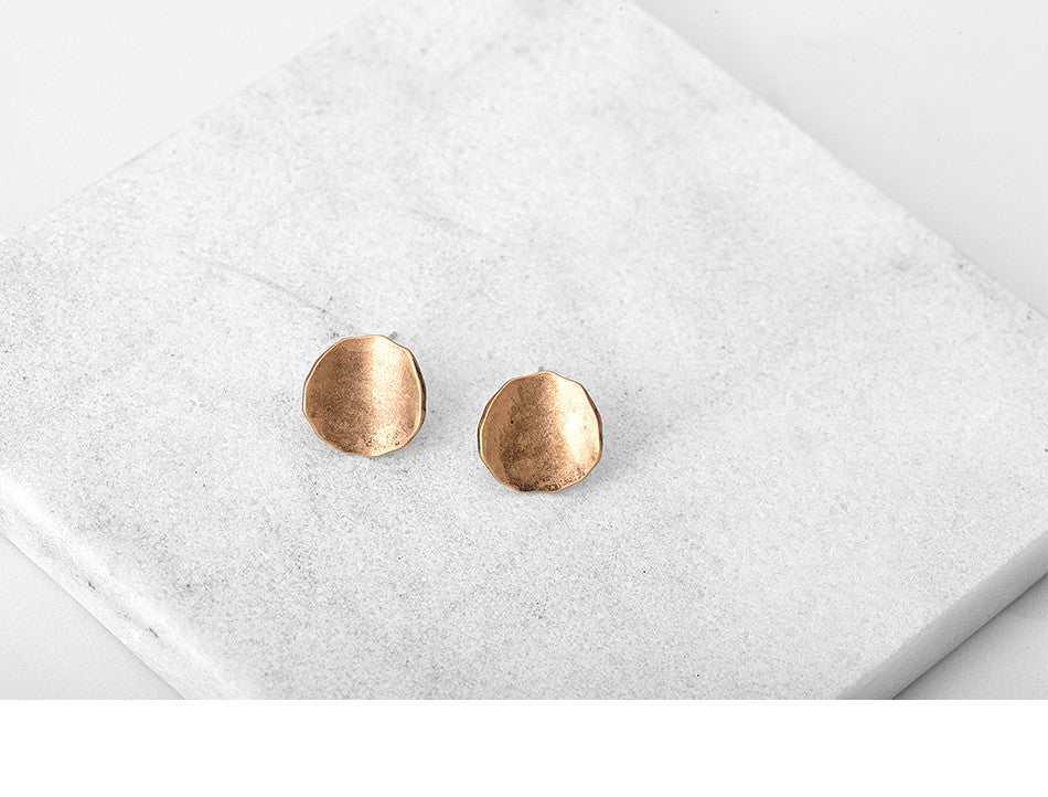 Vintage Round Gold & Silver Stud Earrings