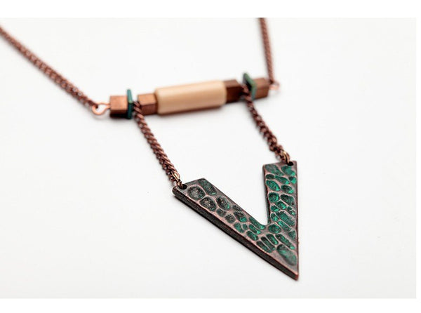 Tribal Chevron, Stone and Metal Long Statement Necklace