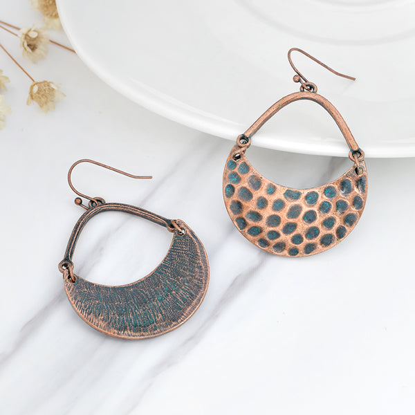 Copper Half Circle Hammered Earrings
