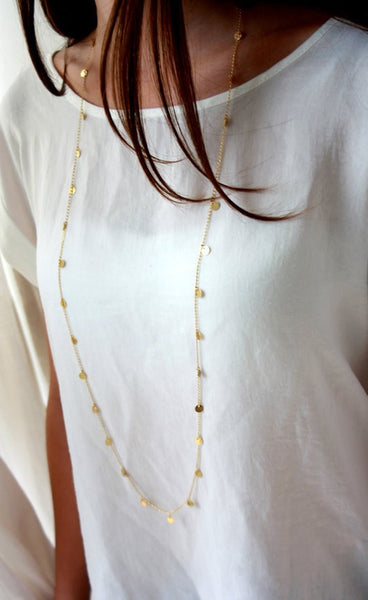 Boho Long Confetti Necklaces Gold & Silver