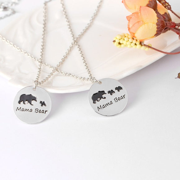 Mama Bear & Cub Circle Pendant Style Necklace