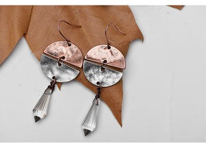 Antiqued Copper, Metal & Glass Bead Earrings