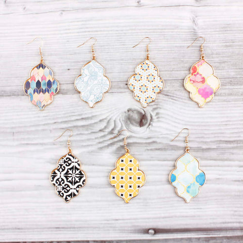 Colorful Print Gold Moroccan Drop Earrings 6 Designs!