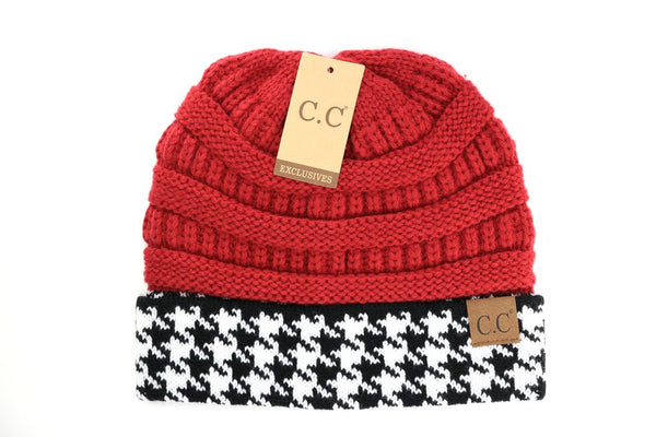 C.C. Houndstooth Cuffed Beanie (Adult/One Size)