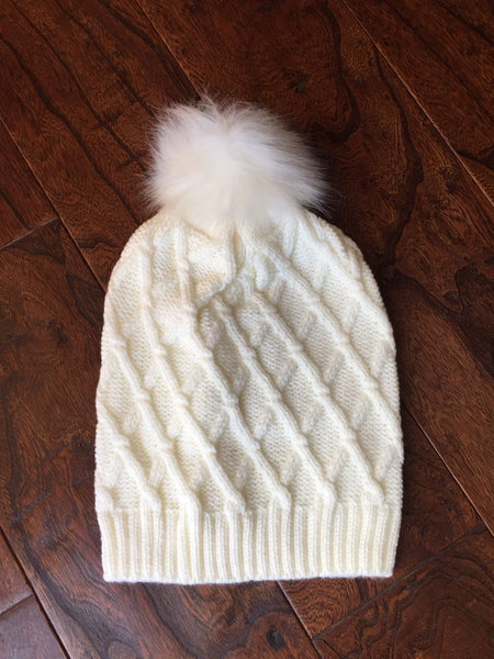 Diamond Pattern Faux Fur Pom Beanies (Adult/One Size) *Sale*