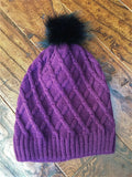 Diamond Pattern Faux Fur Pom Beanies *Sale*